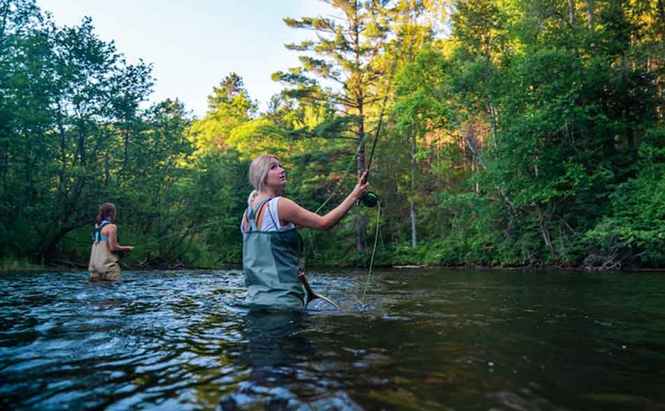 fly fishing for trout in rivers